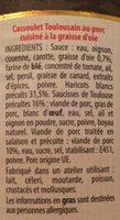Cassoulet Toulousain cuisiné à la Graisse d'Oie - Ingredients - fr