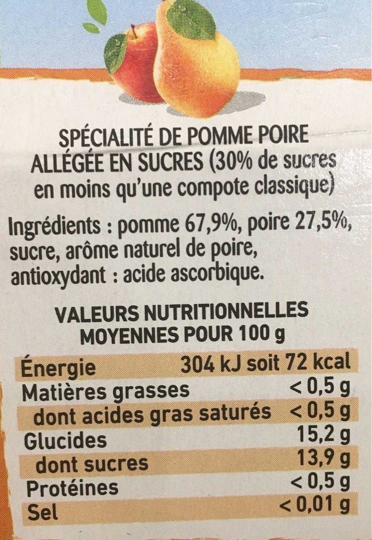 Compote de pomme-poire - Informations nutritionnelles