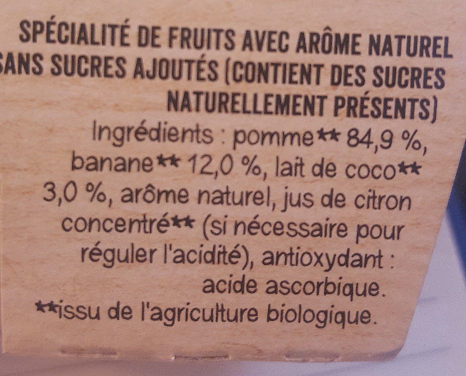 Compote Pomme Banane coco Bio - Ingrédients - fr