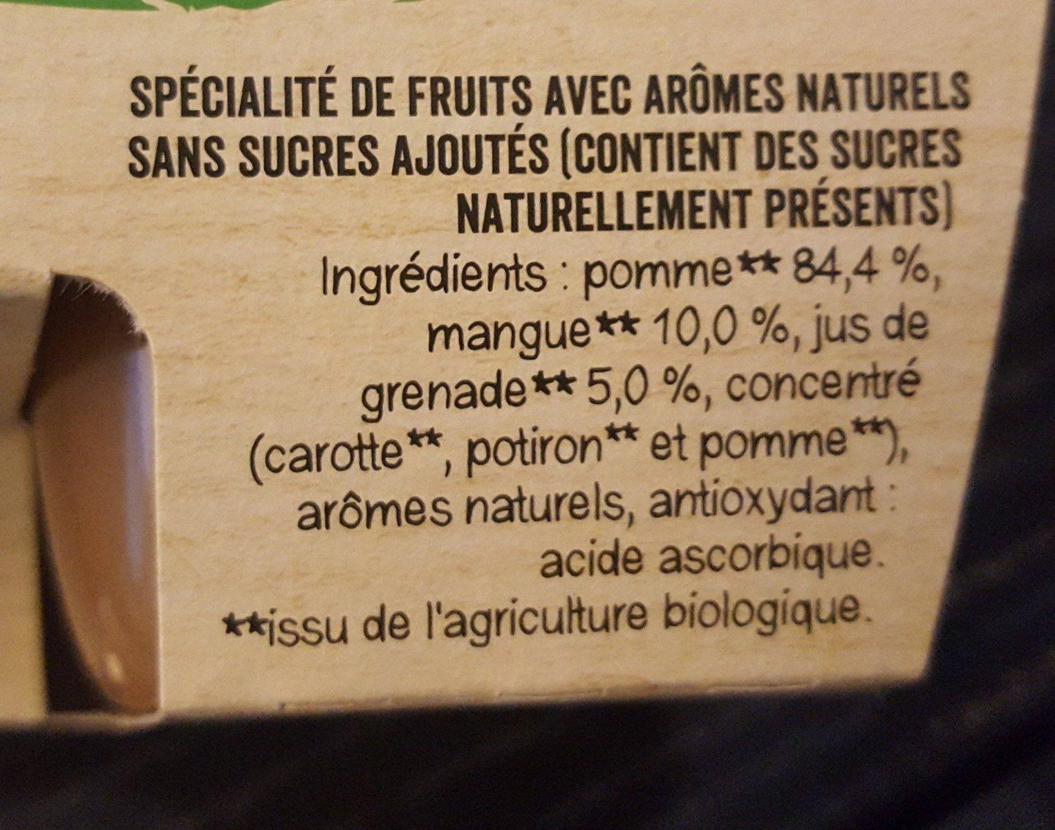 MATERNE BIO SSA Pomme Mangue Grenade 4x100g - Ingrédients - fr