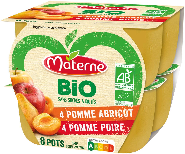 MATERNE BIO SSA Pomme Abricot/Pomme Poire 8x100g - Produit - fr