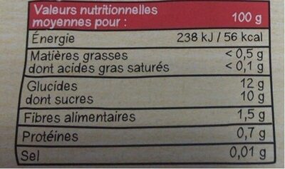 MATERNE Intense & Velouté SSA Brugnon Abricot - Informations nutritionnelles - fr