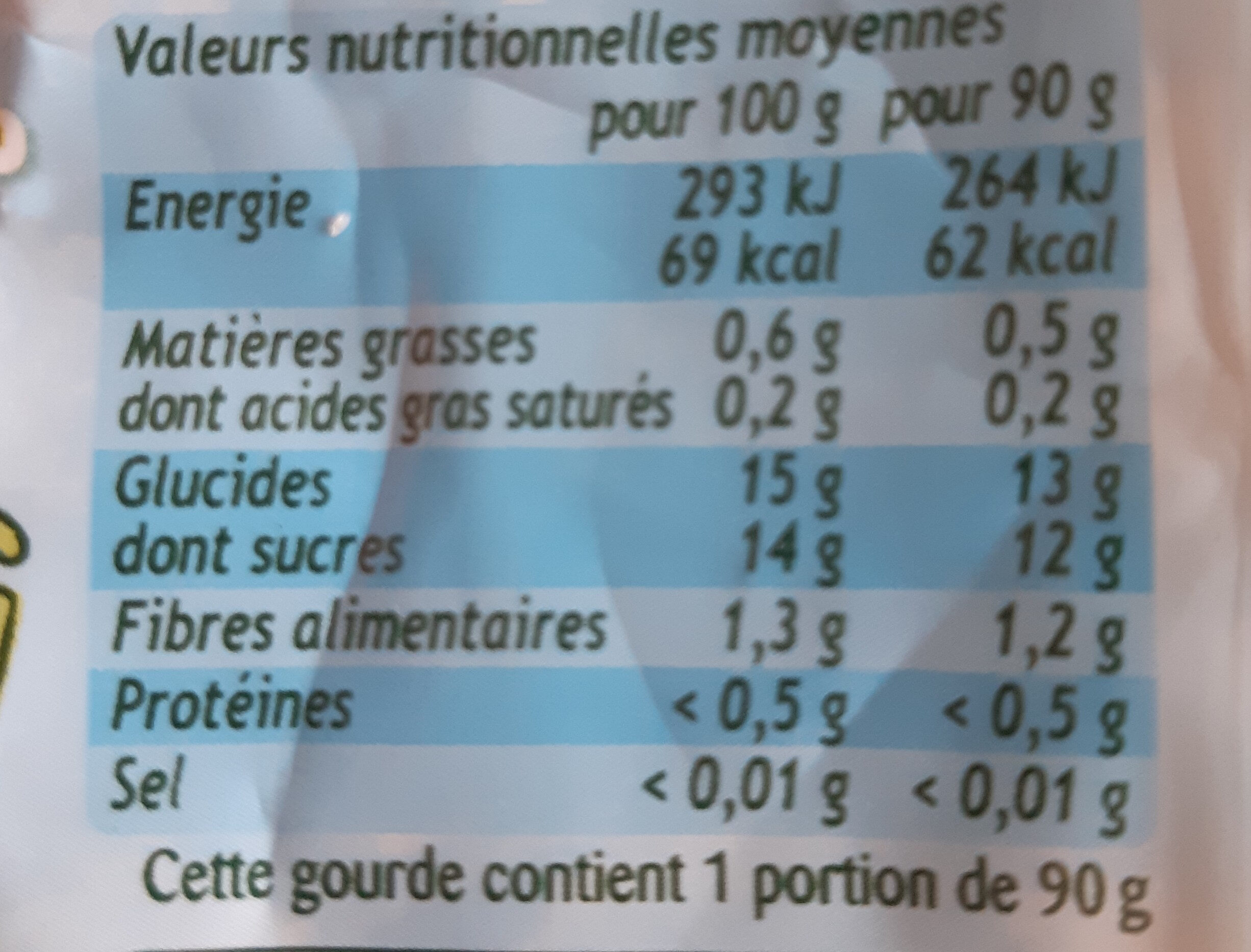 Pom'Potes Pomme - Nutrition facts - fr