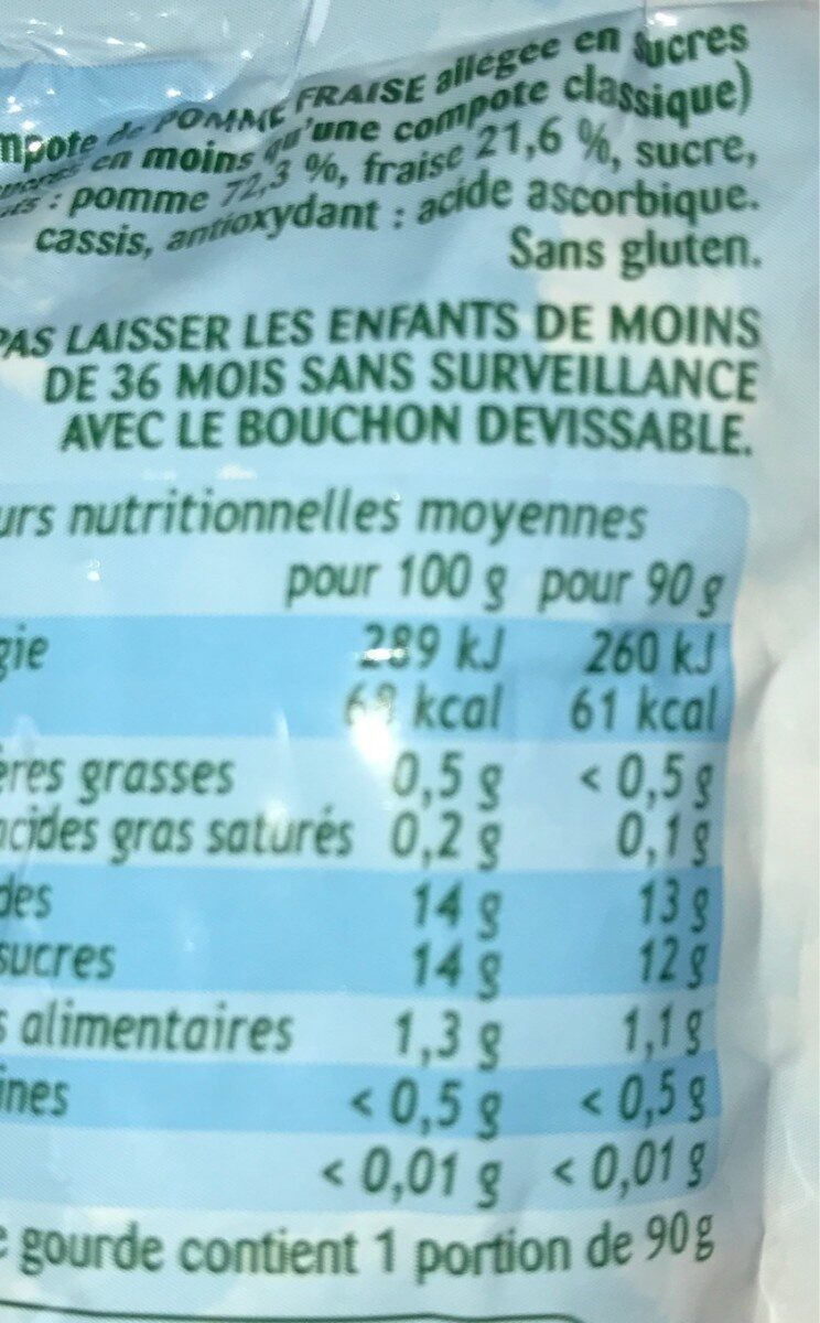Pom' Potes Pommes Fraises - Informations nutritionnelles - fr