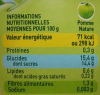 Pom'Potes pomme nature Materne - Voedingswaarden - fr
