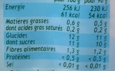 Pom' potes Pomme Bio - Nutrition facts