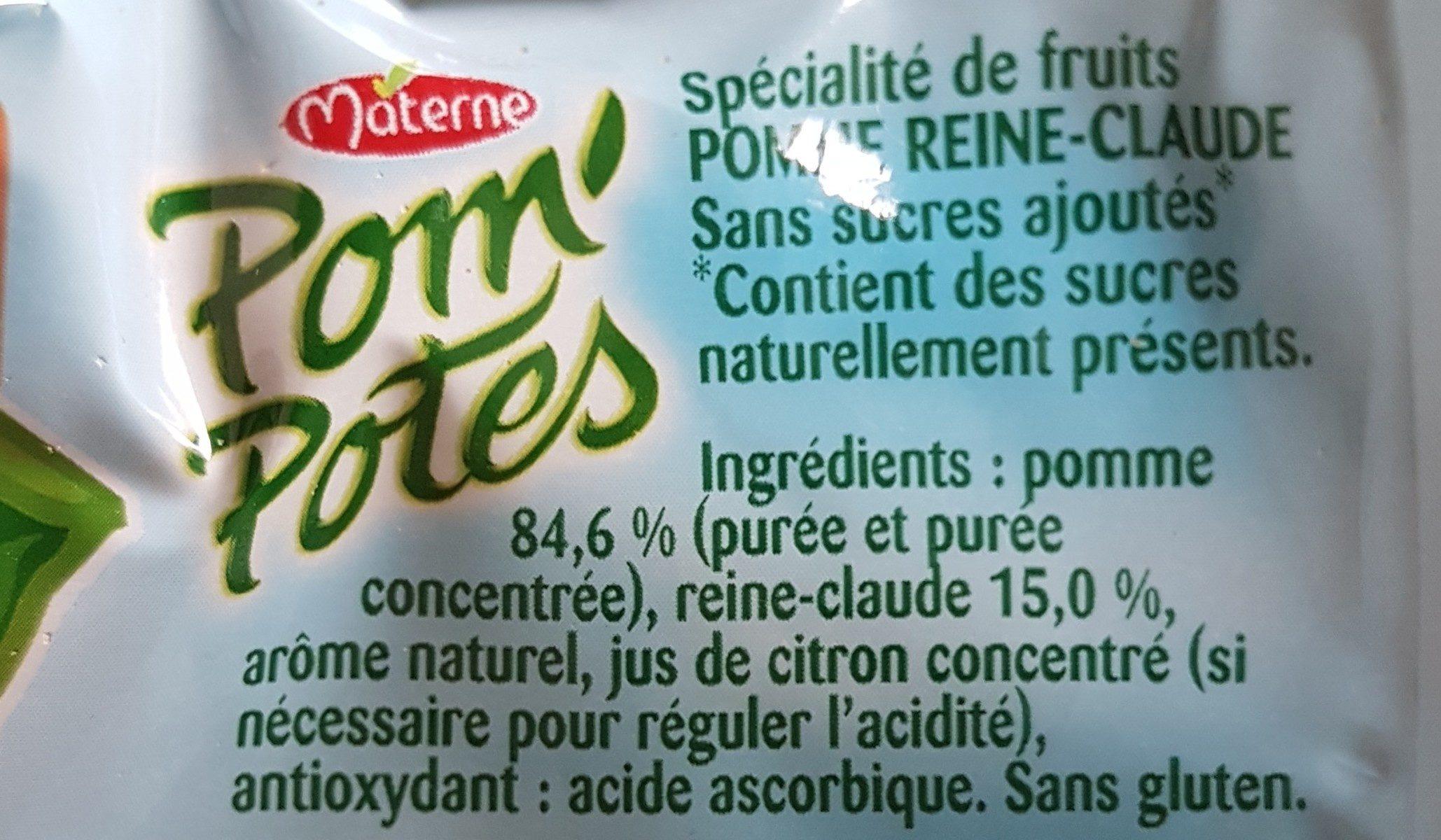 Pom'Potes (Reine-Claude) - Ingredients
