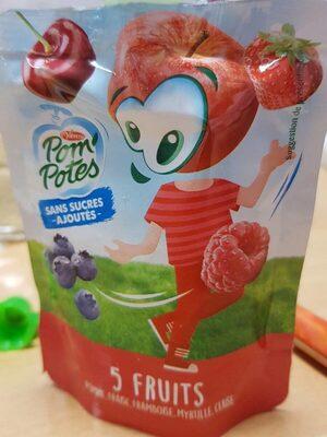 Pom potes sans sucres ajoutés 5 fruits - Produit - fr