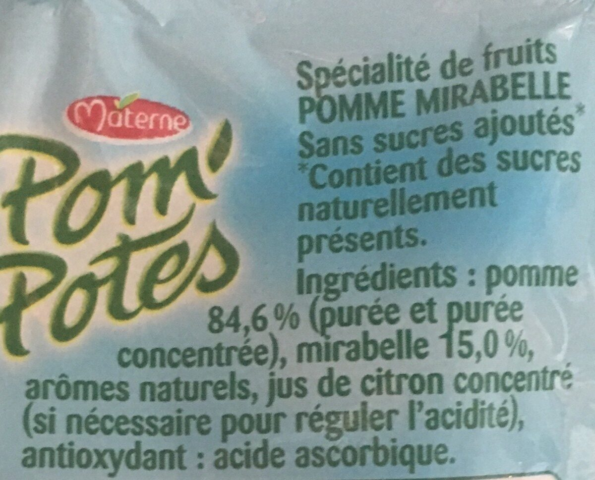 Pom'Potes mirabelles sans sucre - Ingredients