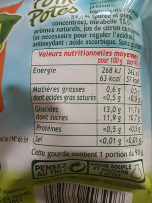 Pom'Potes mirabelles sans sucre - Nutrition facts