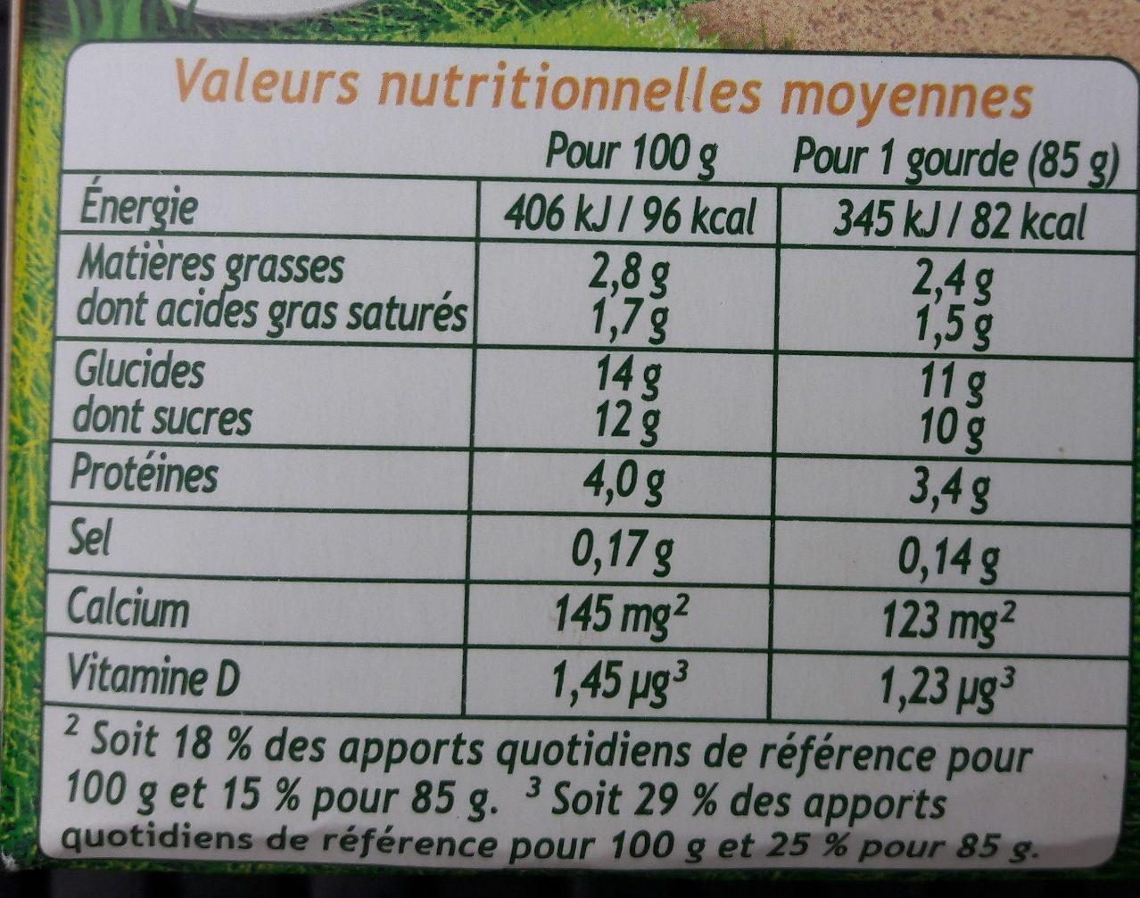 Pom' Potes brassés aux fruits mixés banane - Nutrition facts - fr