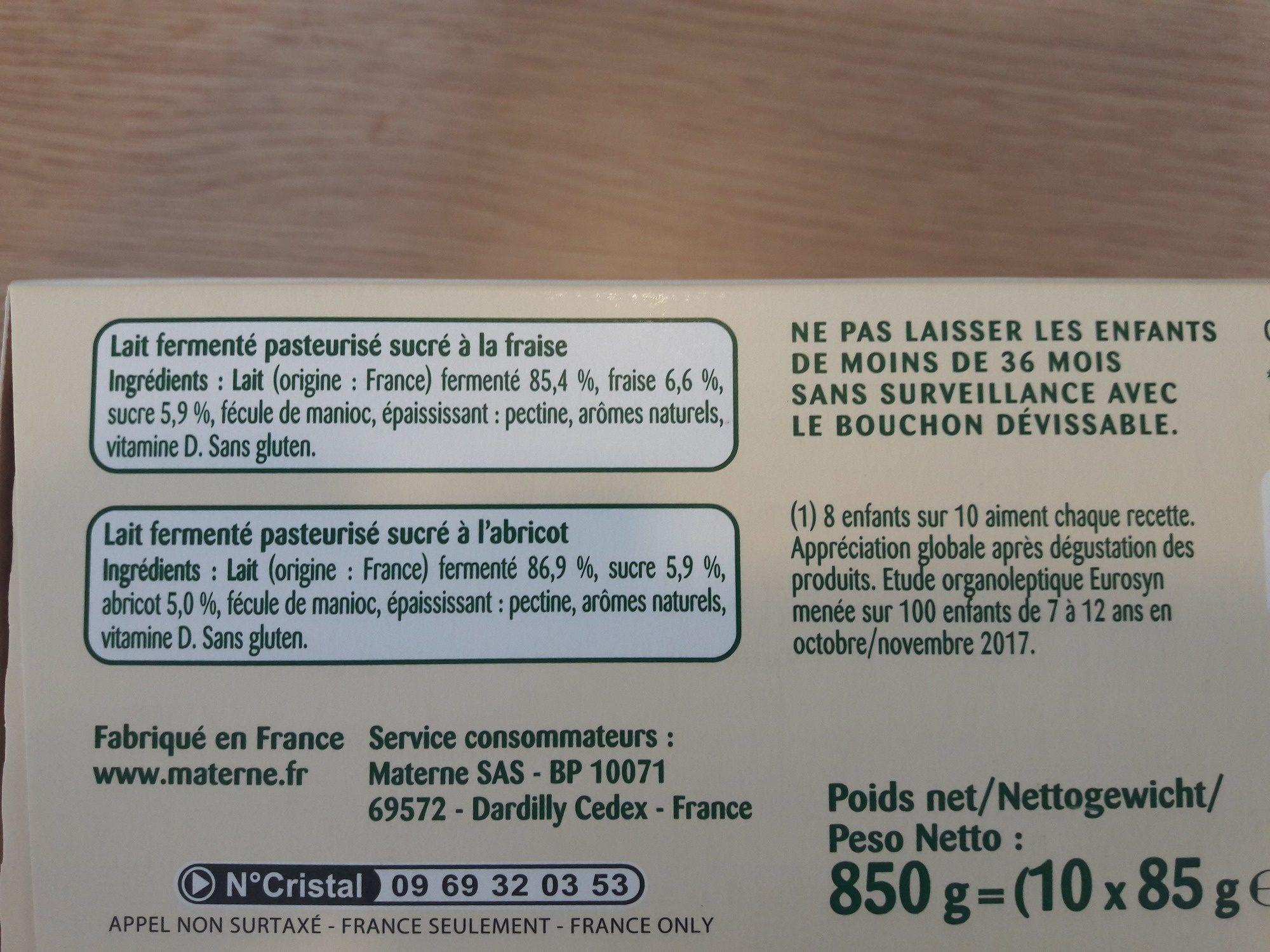 Pom'Potes Brassés Fraise Abricot - Ingrédients - fr