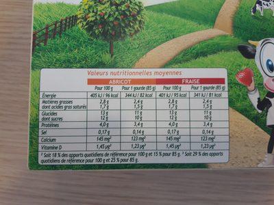 Pom'Potes Brassés Fraise Abricot - Informations nutritionnelles - fr