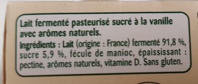 POM'POTES BRASSES Vanille - Ingrédients - fr