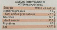 Compotes Pomme Pêche Abricot sans sucres ajoutés - Voedingswaarden - fr