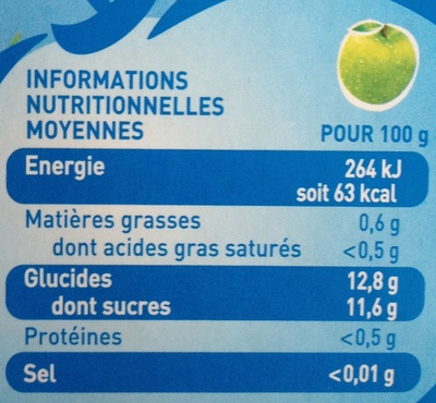 Pom'Potes - 4 Pomme Nature - Nutrition facts