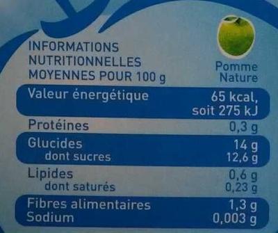 Pom'Potes sans sucres ajoutés - Informations nutritionnelles