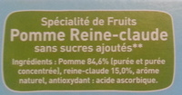 Pom'Potes Pomme Reine-Claude - Ingrédients - fr
