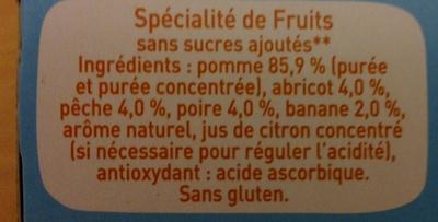 Pom'Potes 5 fruits sans sucres ajoutés - Ingredients - fr