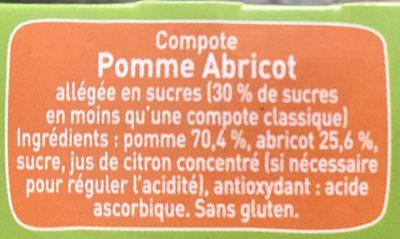 Compotes pomme et abricot, allégées en sucres - Ingrediënten - fr