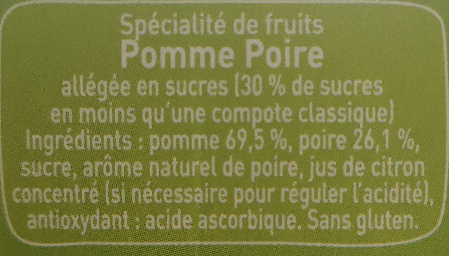 Pom'potes pomme poire - Ingrediënten