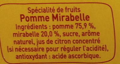 Pom\'Potes pomme mirabelle Materne - Ingrediënten - fr