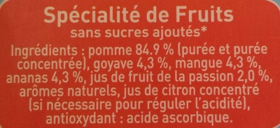 Pom'potes sans sucres ajoutés pomme tropical - Ingrediënten - fr