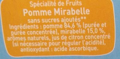 Pomme Mirabelle - Ingrédients