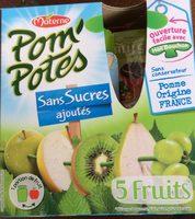 Pom'potes sans sucres ajoutés, 5 fruits - Produit