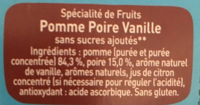 Pom'Potes Pomme Poire Vanille - Ingredients