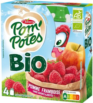 POM'POTES BIO SSA Pomme Framboise 4x90g - Product - fr