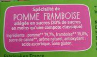 POM'POTES BIO SSA Pomme Framboise 4x90g - Ingredients - fr