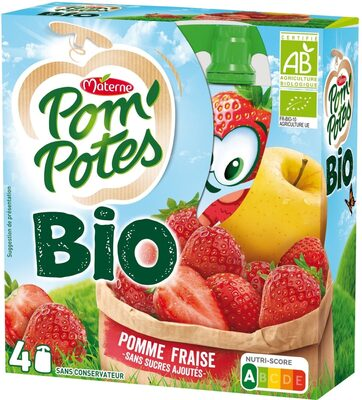 POM'POTES BIO SSA Pomme Fraise 4x90g - Produit - fr