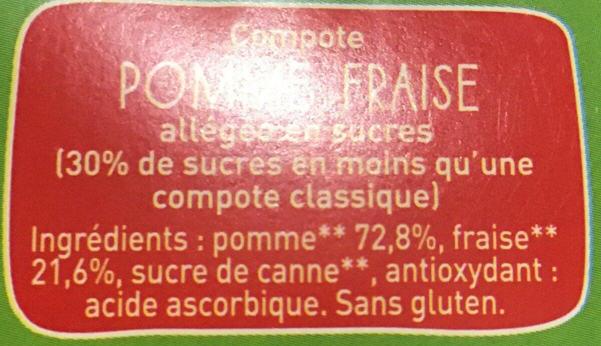 POM'POTES BIO SSA Pomme Fraise 4x90g - Ingrédients - fr
