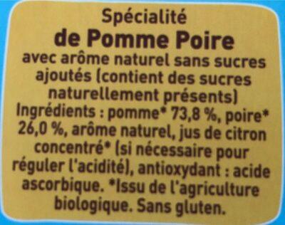 POM'POTES BIO SSA Pomme Poire 4x90g - Ingrédients - fr