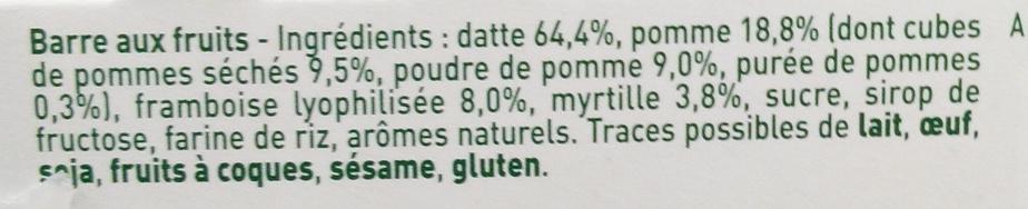 Ma pause fruit Barre pomme framboise myrtille - Ingrédients