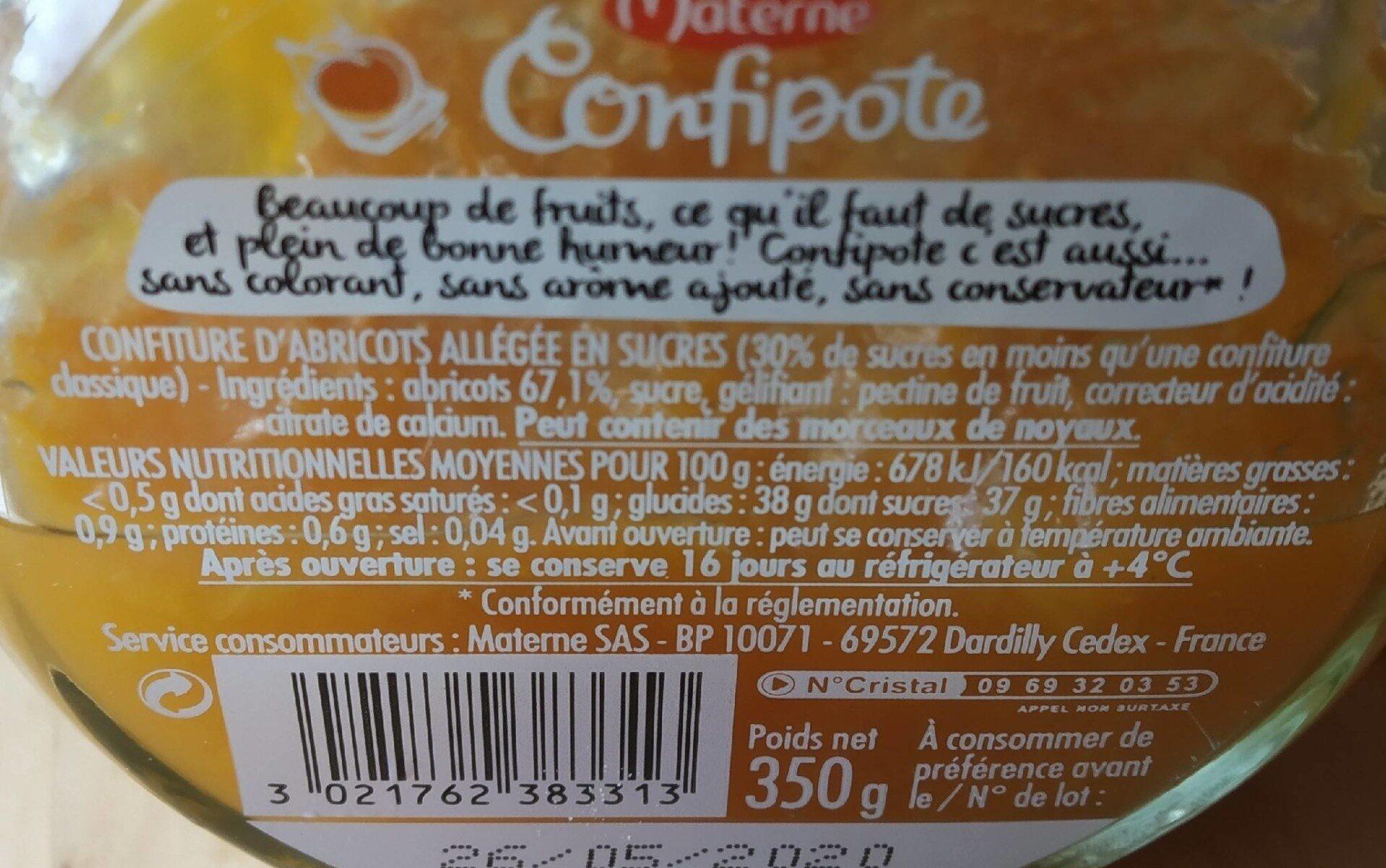 CONFIPOTE L'abricot - Valori nutrizionali - fr