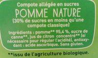 Pom'Potes Pomme nature Bio Materne - Ingrédients