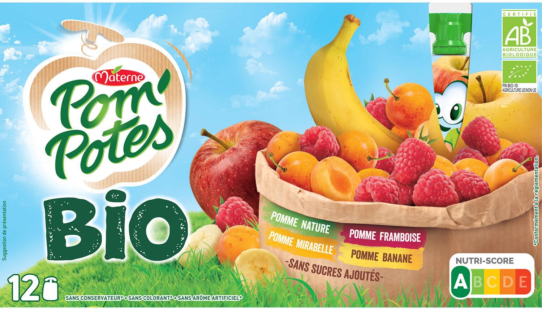POM'POTES BIO SSA Pomme/Pomme Mirabelle/Pomme Framboise/Pomme Banane 12x90g - Product - fr