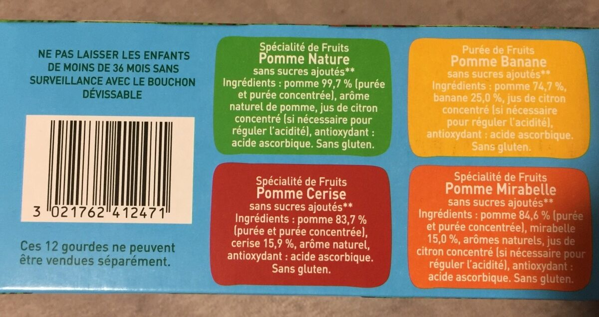 Pom' potes les inedits sans sucres ajoutés - Ingredients