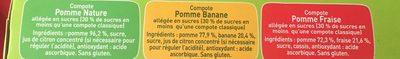 POM'POTES Pomme/Pomme Banane/Pomme Fraise 16x90g Format Familial - Ingrédients - fr