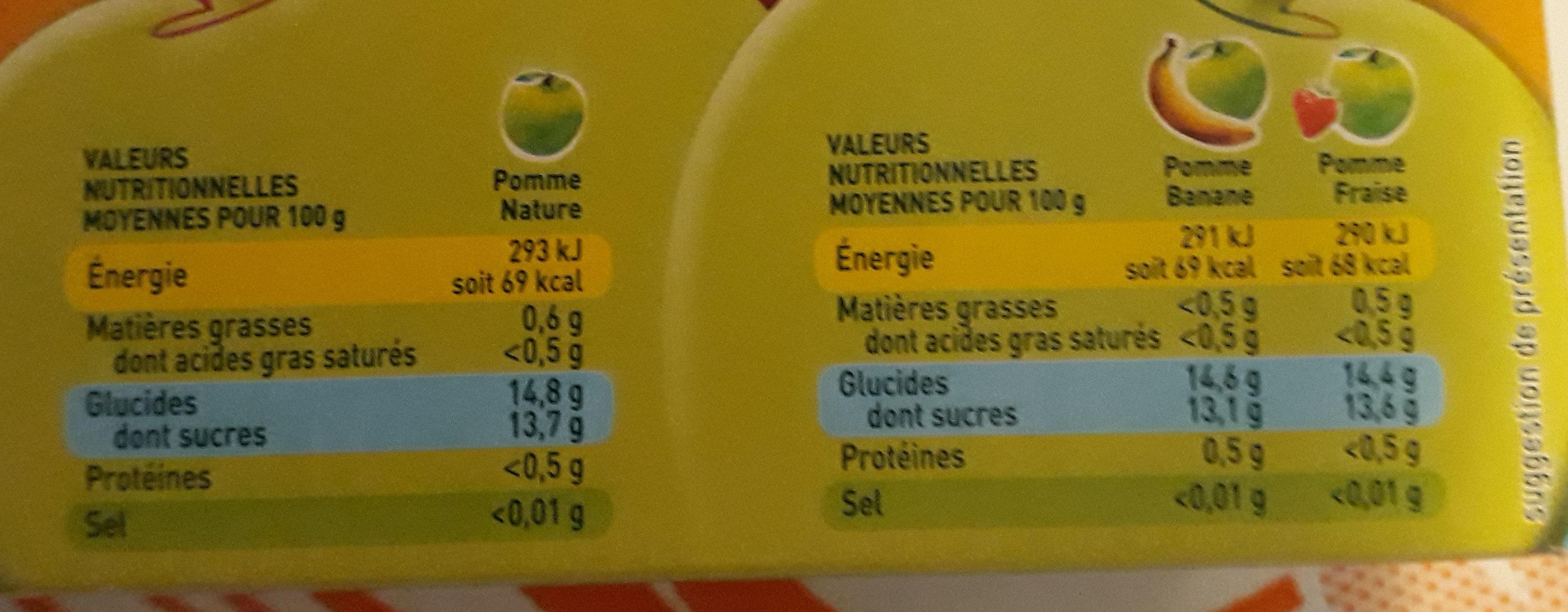 POM'POTES Pomme/Pomme Banane/Pomme Fraise 16x90g Format Familial - Informations nutritionnelles - fr