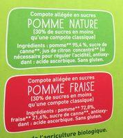 POM'POTES BIO SSA Pomme/Pomme Fraise 16x90g Format Familial - Ingrédients - fr