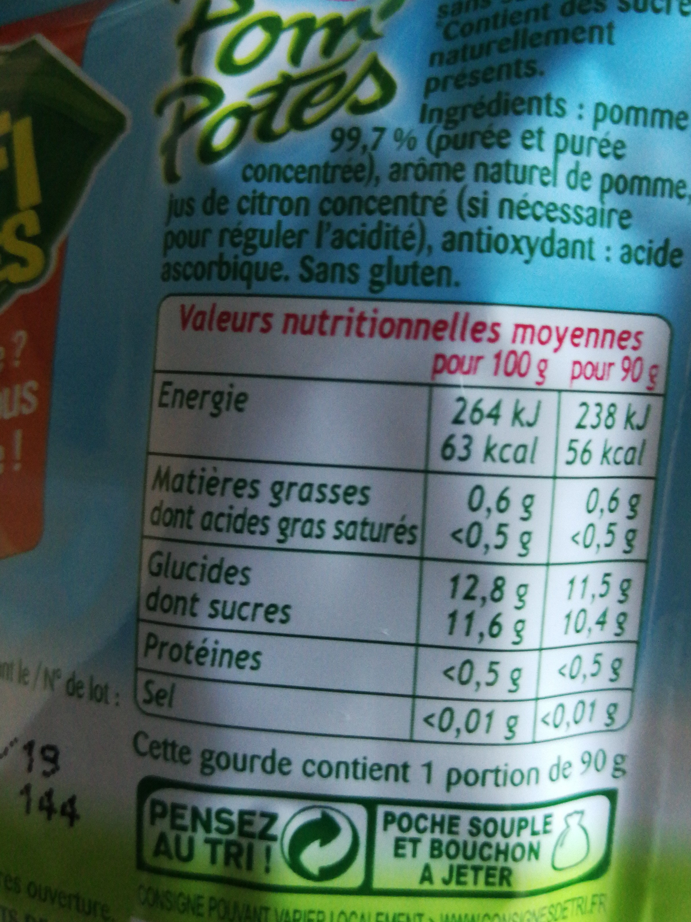 Pom' potes - Nutrition facts