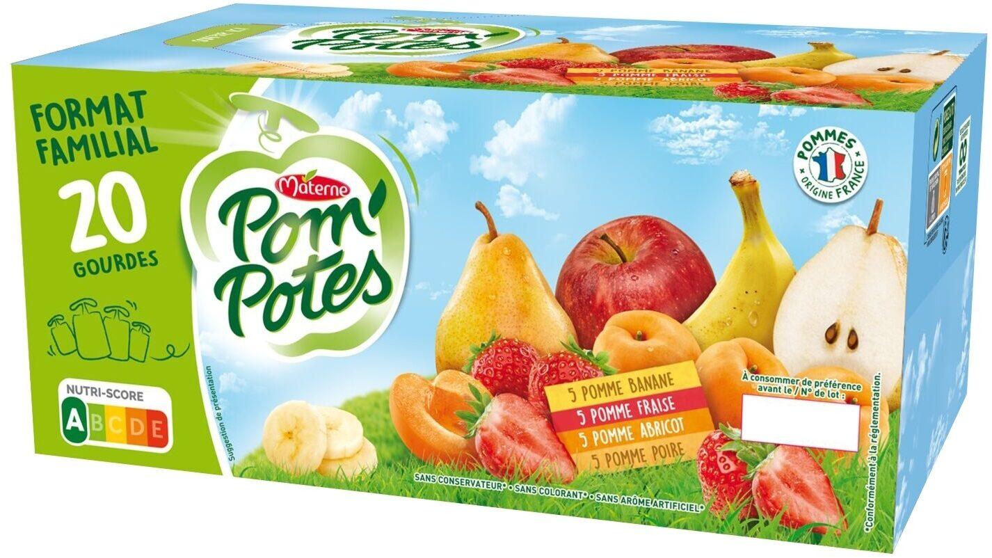 POM'POTES Pomme Abricot/Pomme Poire/Pomme Fraise/Pomme Banane 20X90g Format Familial - Product - fr