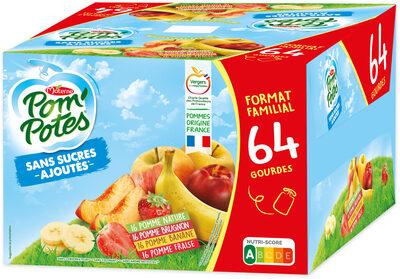 POM'POTES SSA Pomme/Pomme Brugnon/Pomme Banane/Pomme Fraise 64x90g Format Familial - Produit - fr
