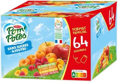 POM'POTES SSA Pomme/Pomme Abricot/Pomme Framboise/Pomme Mirabelle 64x90g Format Familial - Produit - fr