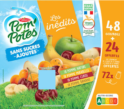 POM'POTES SSA Les Inédits Pomme/Pomme Mirabelle/Pomme Cerise/Pomme Banane 72x90g 48+24 Offertes - Prodotto