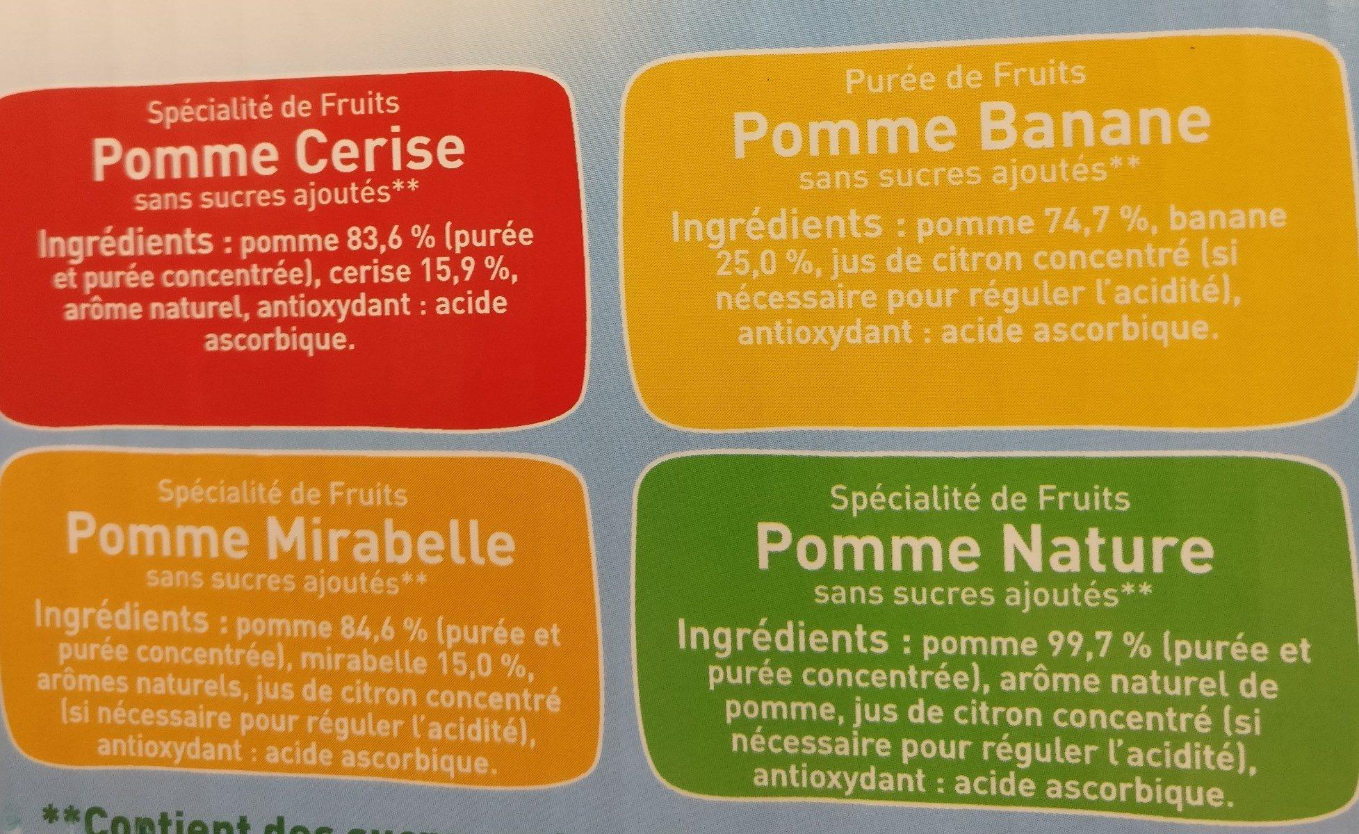 POM'POTES SSA Les Inédits Pomme/Pomme Mirabelle/Pomme Cerise/Pomme Banane 72x90g 48+24 Offertes - Ingredienti - fr
