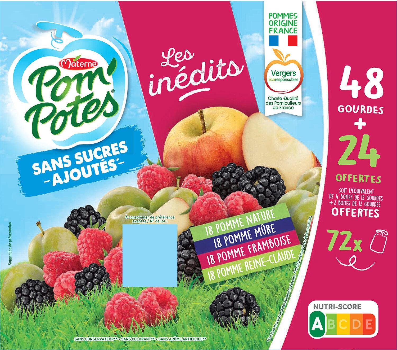 POM'POTES SSA Les Inédits Pomme/Pomme Mûre/Pomme Framboise/Pomme Reine Claude 72x90g 48+24 Offertes - Prodotto - fr